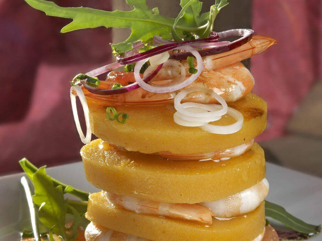 Persimon® kaki mille-feuille with prawns