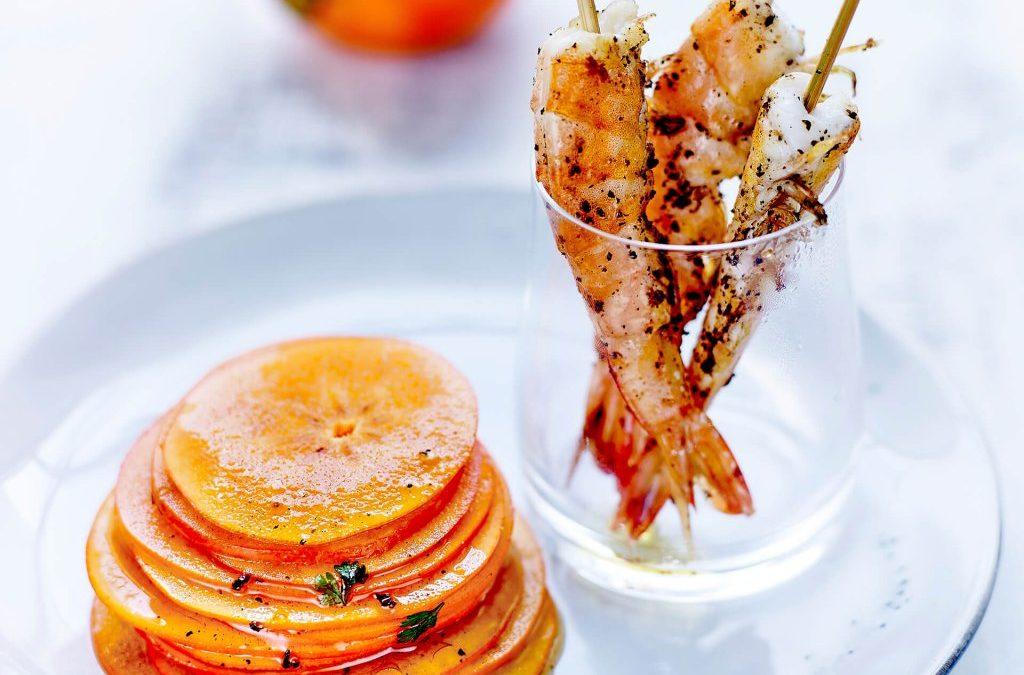 Kaki Persimon® mariné aux épices et crevettes sautées au poivre de Sichuan